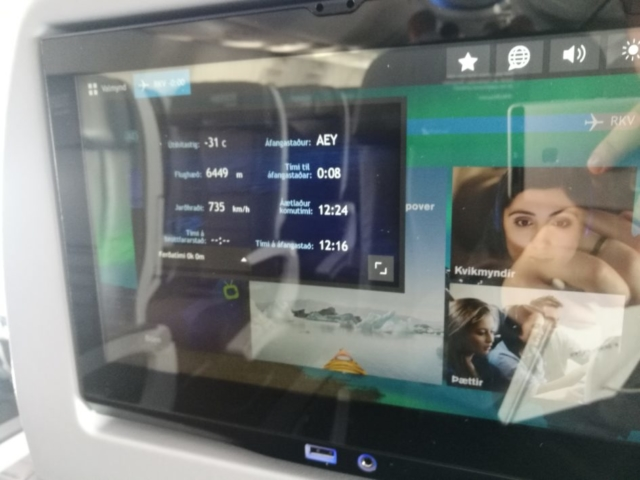 Onboard entertainment system of Icelandair Boeing 737 MAX 8 TF-ICE Jökulsárslón // Source: Flugblogg