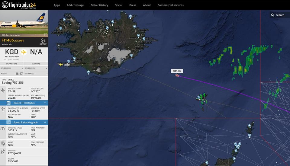Icelandair Boeing 757-200 TF-ISR is delivering Icelandic national football team back to Iceland after World Cup 2018 // Source: Flightradar24
