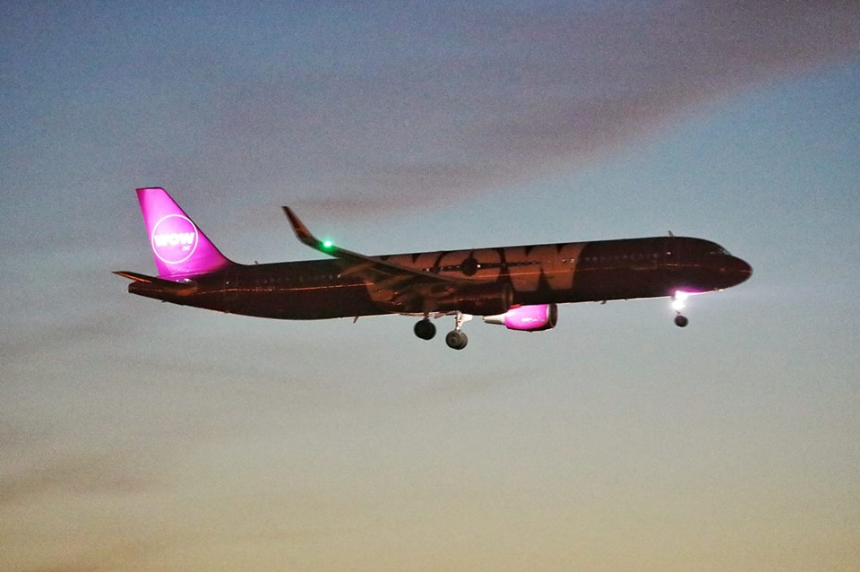 Night landing of WOW air Airbus A231 TF-JOY in Sheremetyevo, Moscow during World Cup 2018 on 15.06.18 // Source: Alexander Bukin