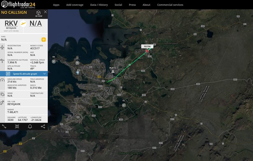 "Inaugural flight of ""Eagle Air"" Dornier 328 (reg. TF-ORI) // Source: Flightradar24"