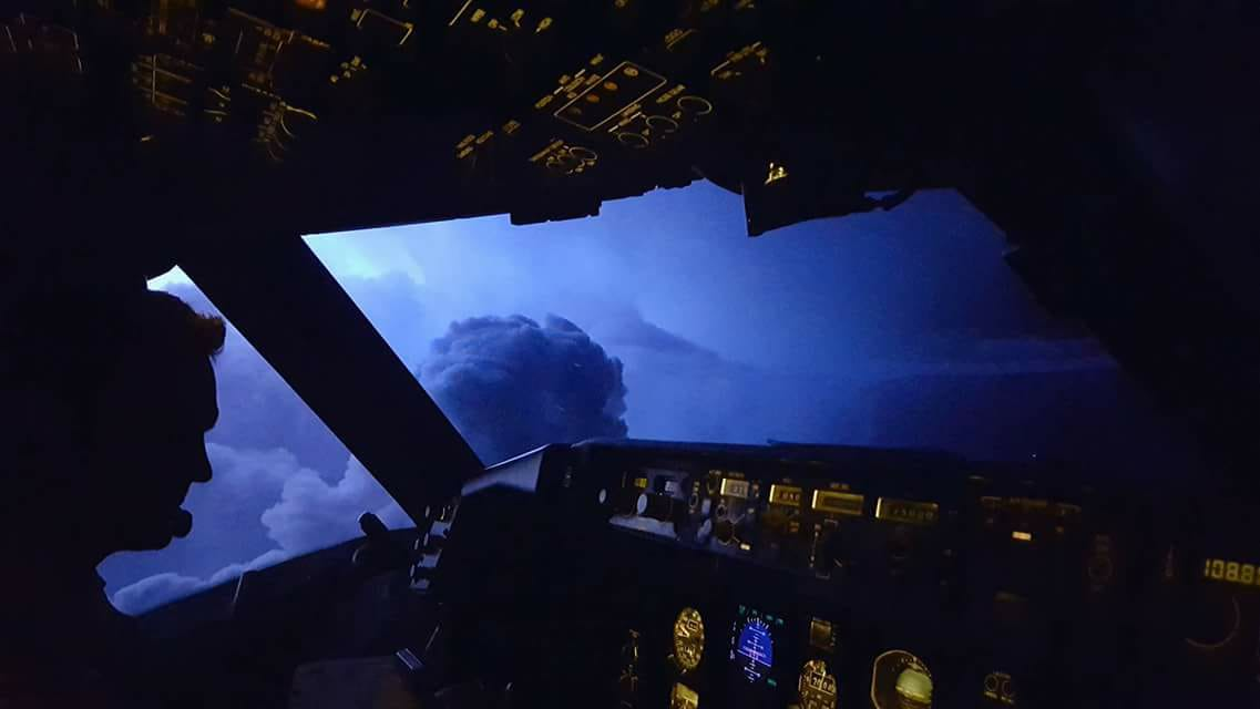 View from cockpit of Icelandair Boeing 767 TF-ISO crouching between thunderstorm clouds on its way from USA to Iceland // Source: Ingvar Mar Jónson