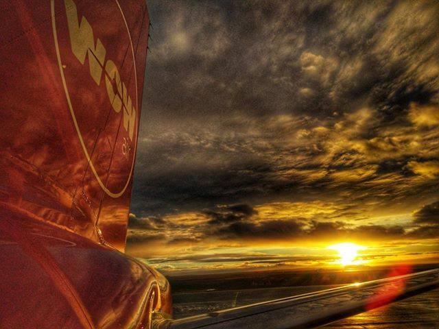 WOW air Airbus tail during sunset in Keflavik // Source: Radek Werbowski