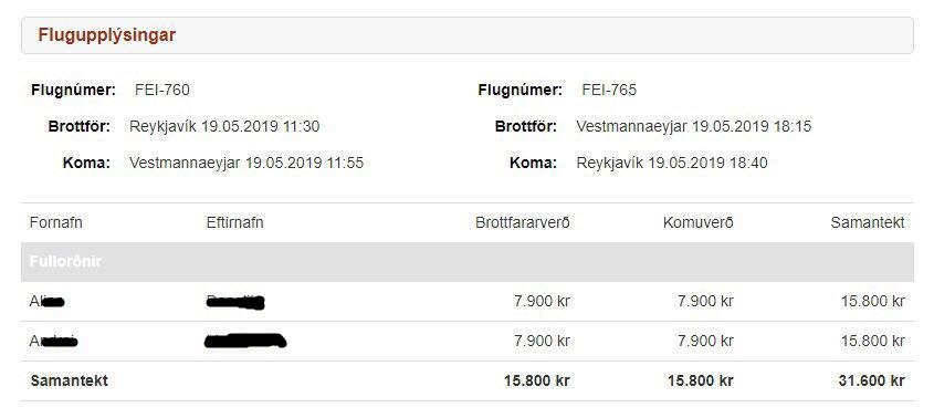 Eagle Air special offer for the trip to Vestmannaeyjar // Source: Flugblogg