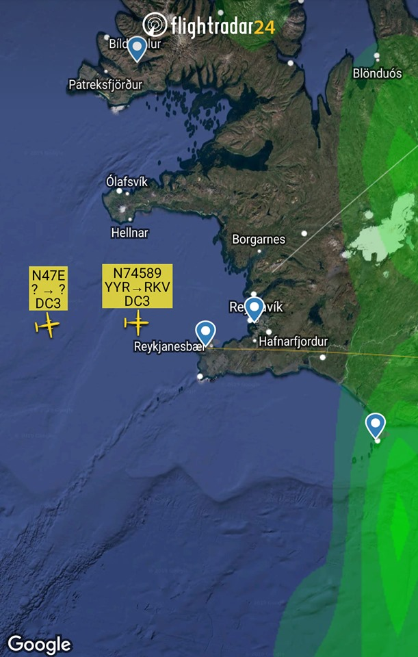 D-Day Squadron DC-3 N74589 and N47E arrival in Reykjavik // Source: Flightradar24