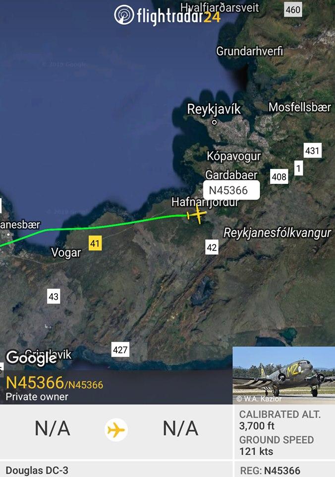 D-Day Squadron DC-3 N45366 arrival in Reykjavik // Source: Flightradar24