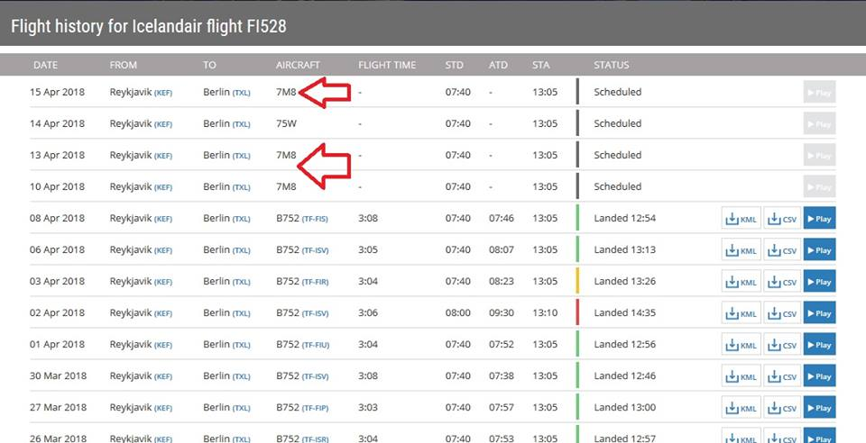 Icelandair Boeing 737 MAX 8 in schedule on flight tracker Flightradar24 // Source: Flightradar24.com