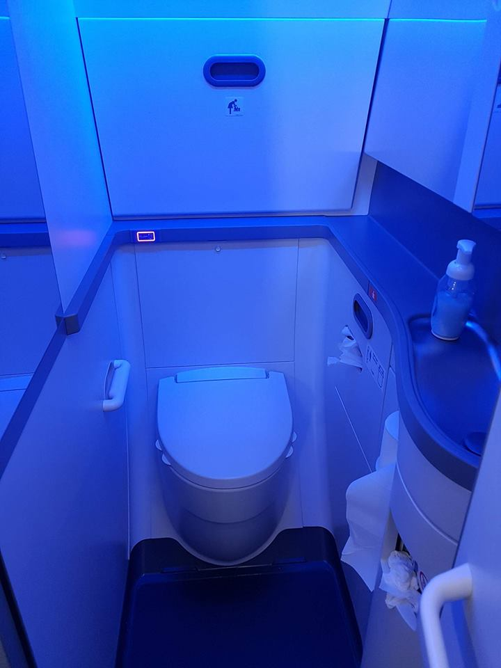Bathroom in Icelandair Boeing 737 MAX 8 TF-ICE Jökulsárslón // Source: Alina Daneliia (specially for Flugblogg)