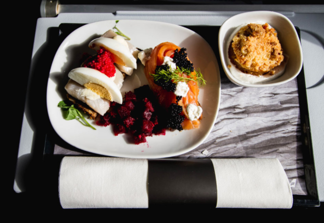 Lunch during presentaion flight of Icelandair Boeing 737 MAX 8 TF-ICE Jökulsárslón in Reykjavik // Source: Alina Daneliia (specially for Flugblogg)