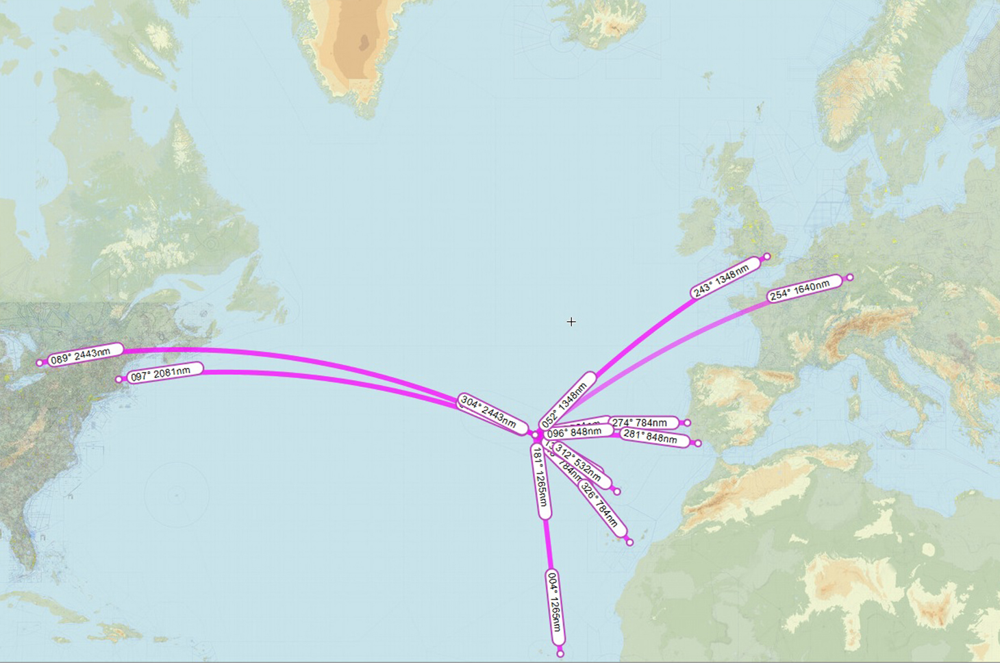 Strategic location of Azores for trans-Atlantic flights between Europe and Americas // Source: Skyvector