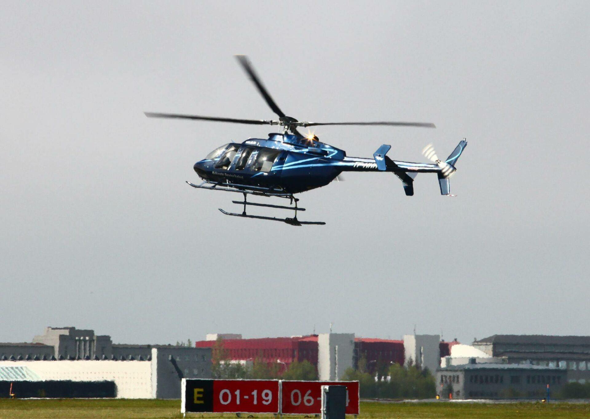 Bell 407 in Reykjavik airport // Source: Helo