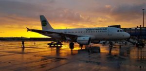 Germania Airbus A319 LZ-AOA in Keflavik during sunset // Source: Stojanovic Mladen