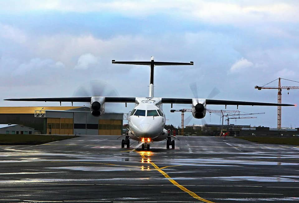 The newest addition to Flugfélagið Ernir fleet, Dornier 328-110TP TF-ORI, first arrival to Reykjavik airport // Source: Birgir Steinar Birgisson