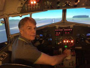 Tómas Dagur Helgason in DC-3 simulator in Amsterdam , The Netherlands // Source: Tómas Dagur Helgason