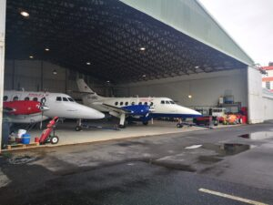Eagle Air JetStream 32 (reg. TF-ORC and TF-ORD) in hangar of Reykjavik airport // Source: Flugblogg