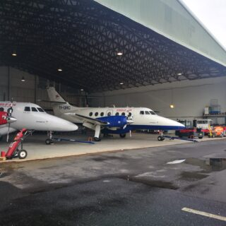 Eagle Air JetStream 32 (reg. TF-ORG and TF-ORC) in hangar of Reykjavik airport // Source: Flugblogg