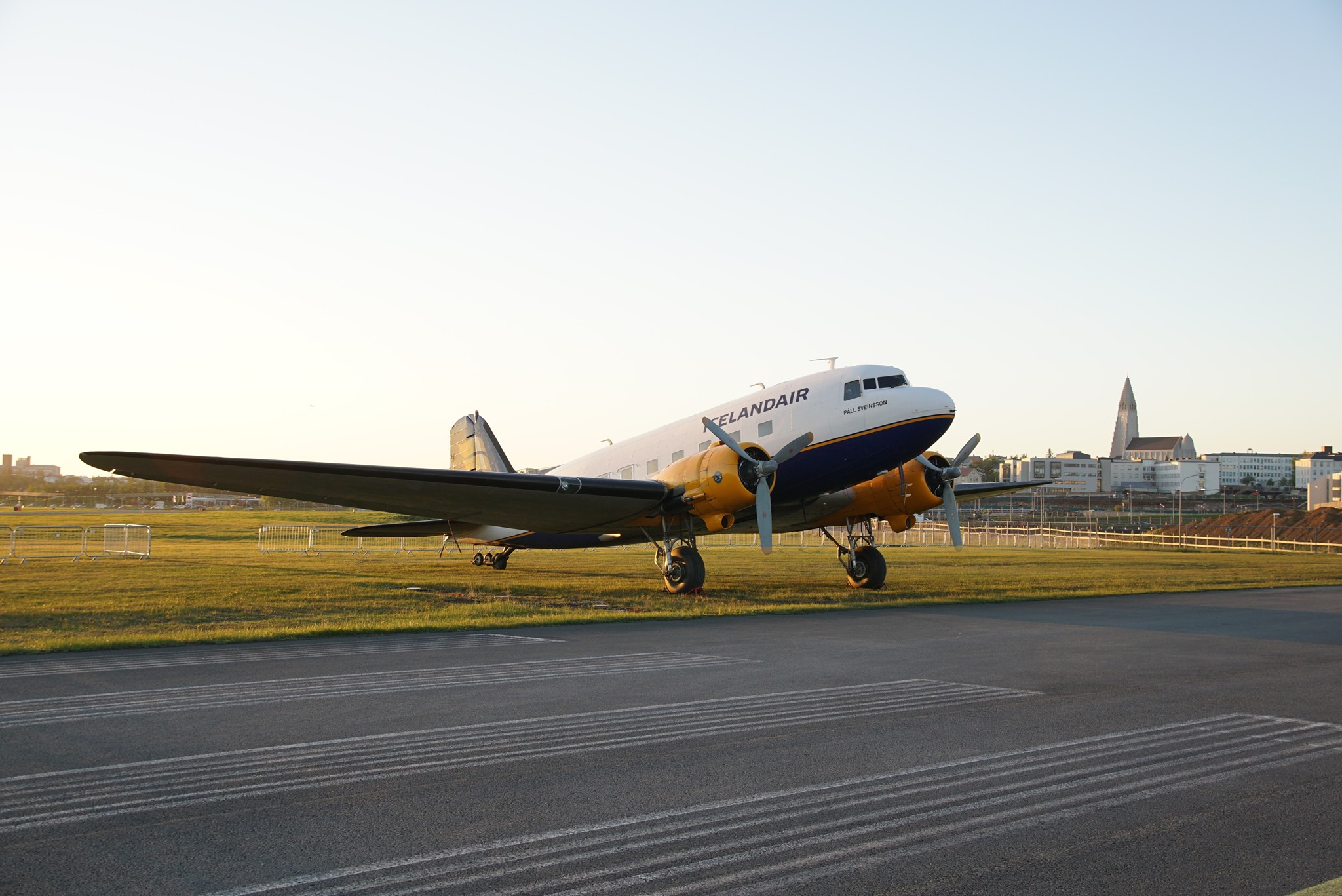 """DC-3 TF-NPK """"Páll Sveinsson"""" in Reykjavik airport during D-Day Squadron visit // Source: Markus Fürst"""