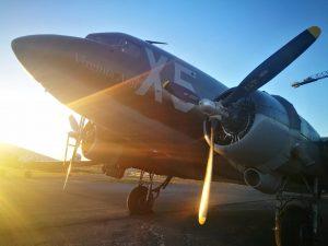 "D-Day Squadron C-47 ""Virginia Ann"" N62CC in Reykjavik airport // Source: Flugblogg"