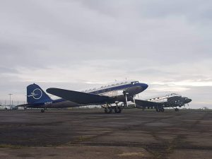 "The first trinity of D-Day Squadron in Reykjavik: C-47 ""Placid Lassie"" N74589, C-47A N47E ""Miss Virginia"", DC-3C N25641 ""Liberty"" // Source: Flugblogg"