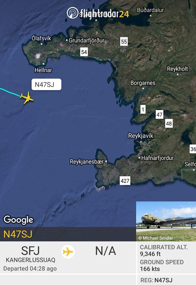 D-Day Squadron C-47 N47SJ arrival in Reykjavik // Source: Flightradar24