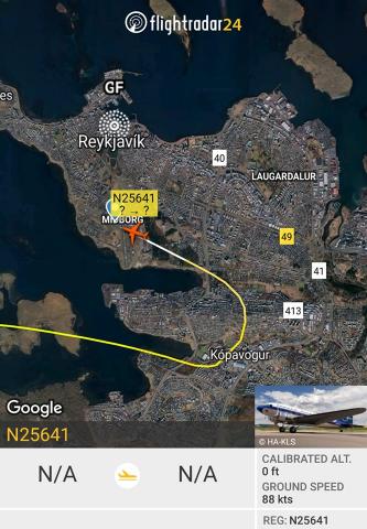 D-Day Squadron DC-3 N25461 arrival in Reykjavik // Source: Flightradar24