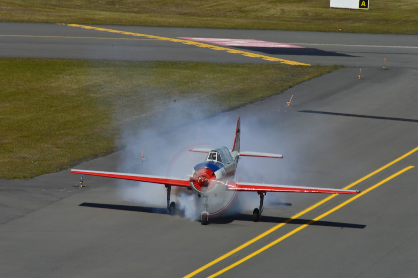 Snorri Bjarnvin Jonson is getting ready for aerobatic performance with smokes on Yak-52 TF-BCX during Reykjavik Airshow 2019 // Source: Halldór Sigurðsson