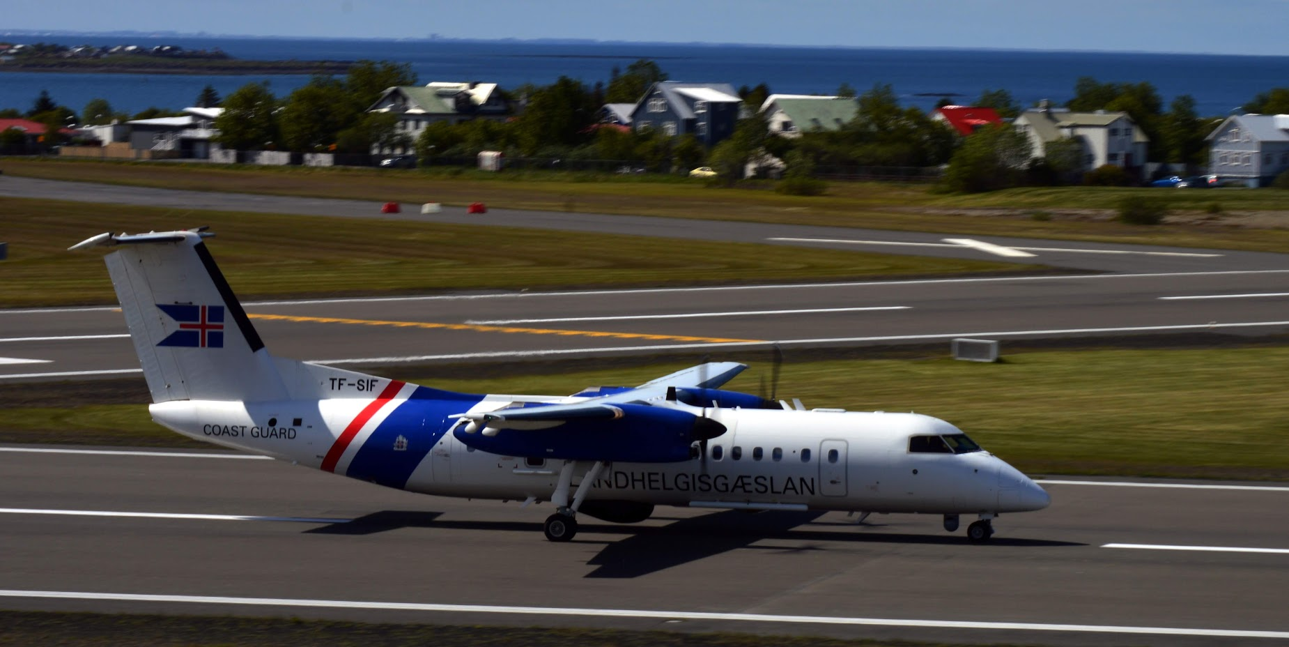 Icelandic Coast Guard Bombardier Dash 8 Q300MSA TF-SIF on Reykjavik Airshow 2019 // Source: PBY-5A Cataline lowpass on runway 01 in Reykjavik airport during airshow 2019 // Source: Halldór Sigurðsson
