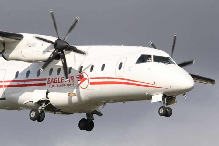 Eagle Air (Flugfélagið Ernir) Dornier 328 TF-ORI At the short final in Reykjavik capital airport (BIRK) // Source: Ívan Elís