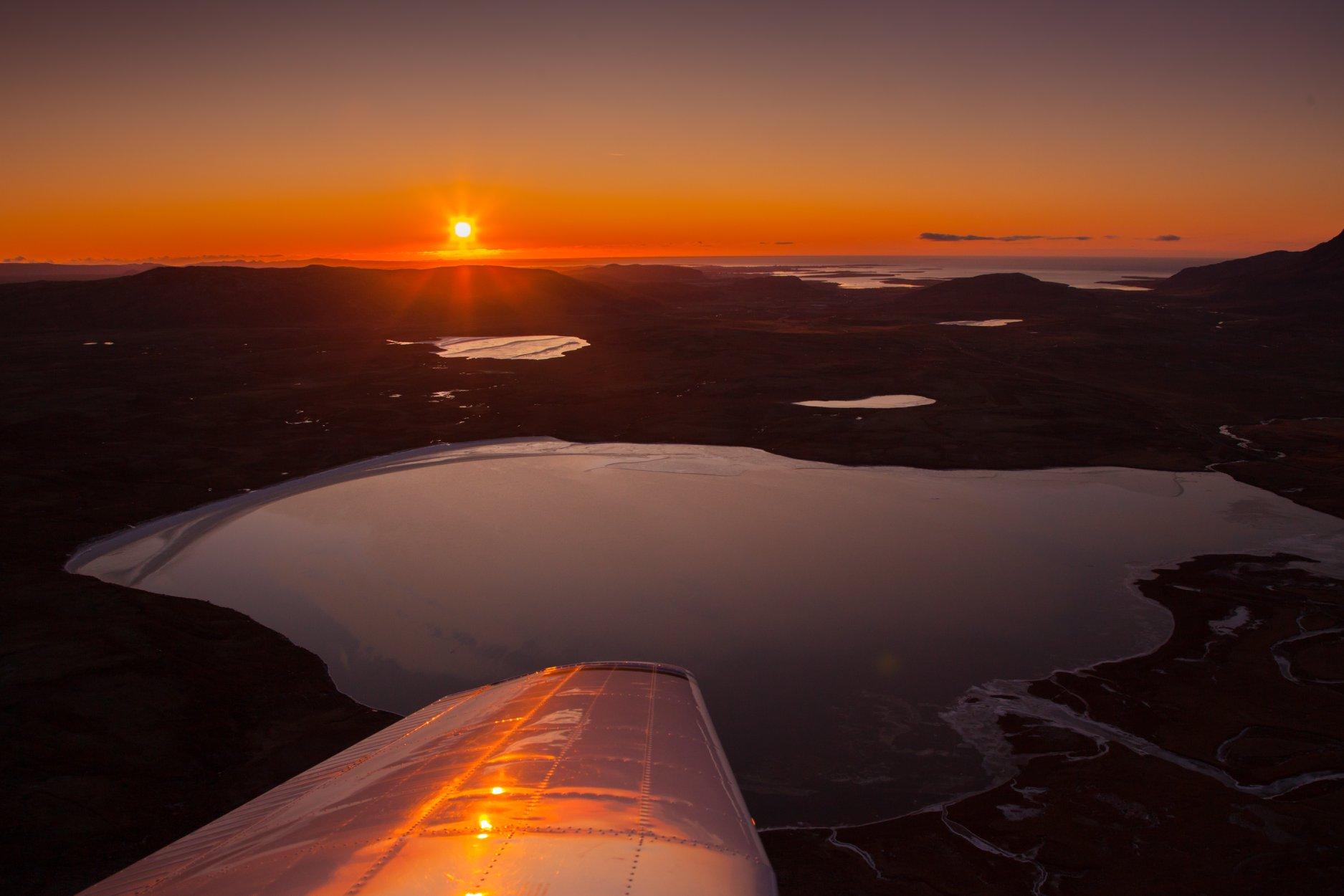 Evening flight in the area of Borgarfjörður on Piper PA-28-181 reg. TF-RJC in October // Source: Halldor Kr Jonsson