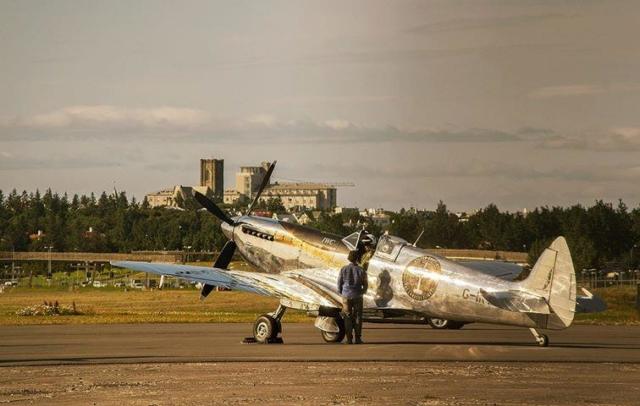 "Silver Spitfire reg. G-IRTY, performing ""The Longest Flight"" tour around the world, during night stop in Reykjavik (BIRK) // Source: Adam Ertu ToZiemski"