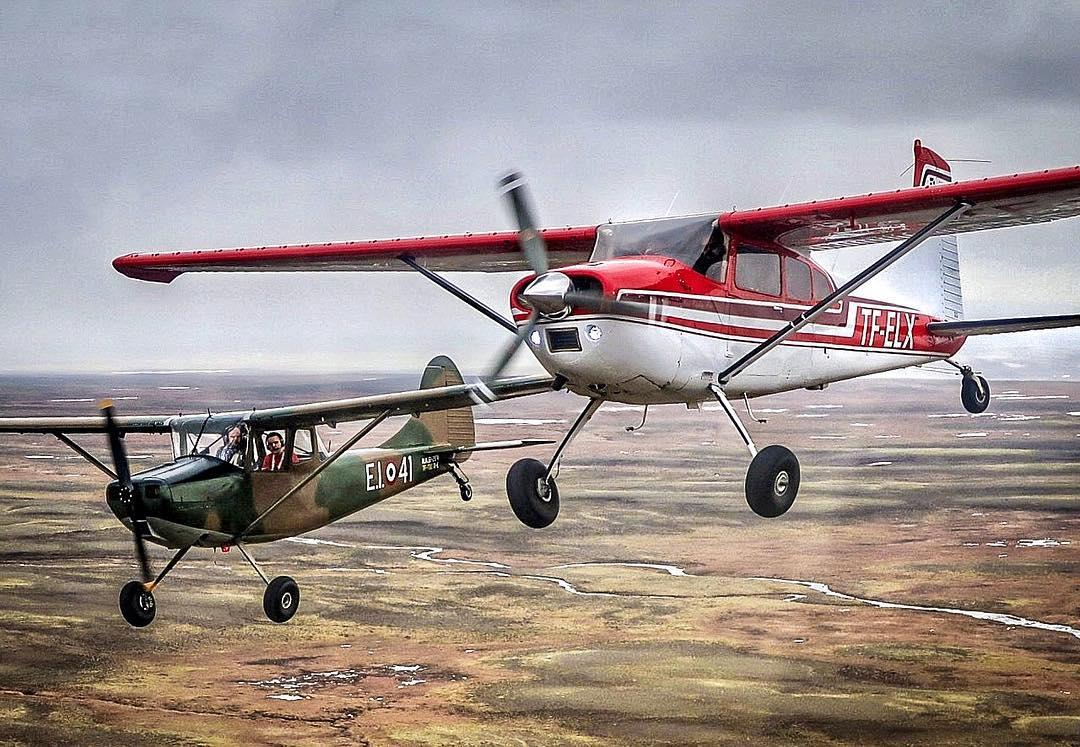 Formation flight over Iceland with Cessna 185F reg. TF-ELX // Source: Birgir Steinar Birgisson