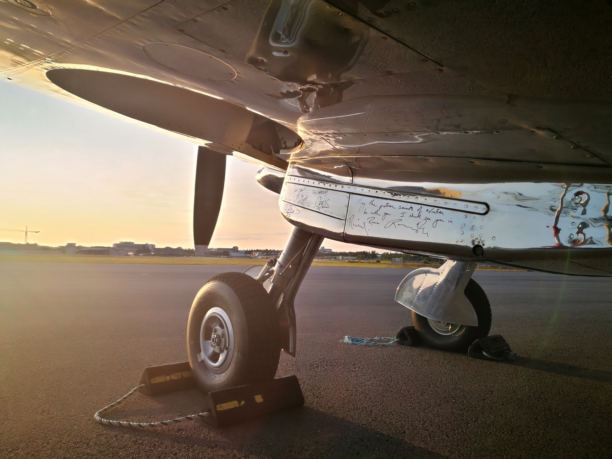 "Silver Spitfire reg. G-IRTY in Reykjavik (BIRK) during ""The Longest Flight"" tour around the world // Source: Flugblogg"