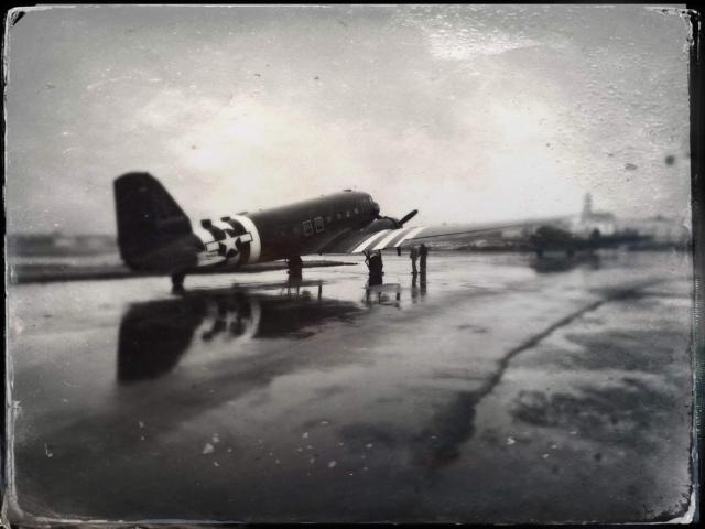 "D-Day Squadron DC-3 reg. N-74589 ""Placid Lassie"" in Reykjavik airport (BIRK) // Source: Adam Ertu ToZiemski"