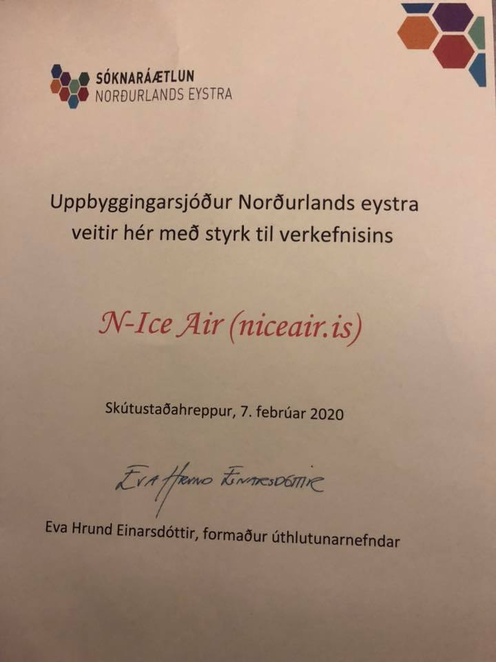 The certificate from Northeastern Development Initiative // Source: Thorvaldur Ludvik Sigurjonsson
