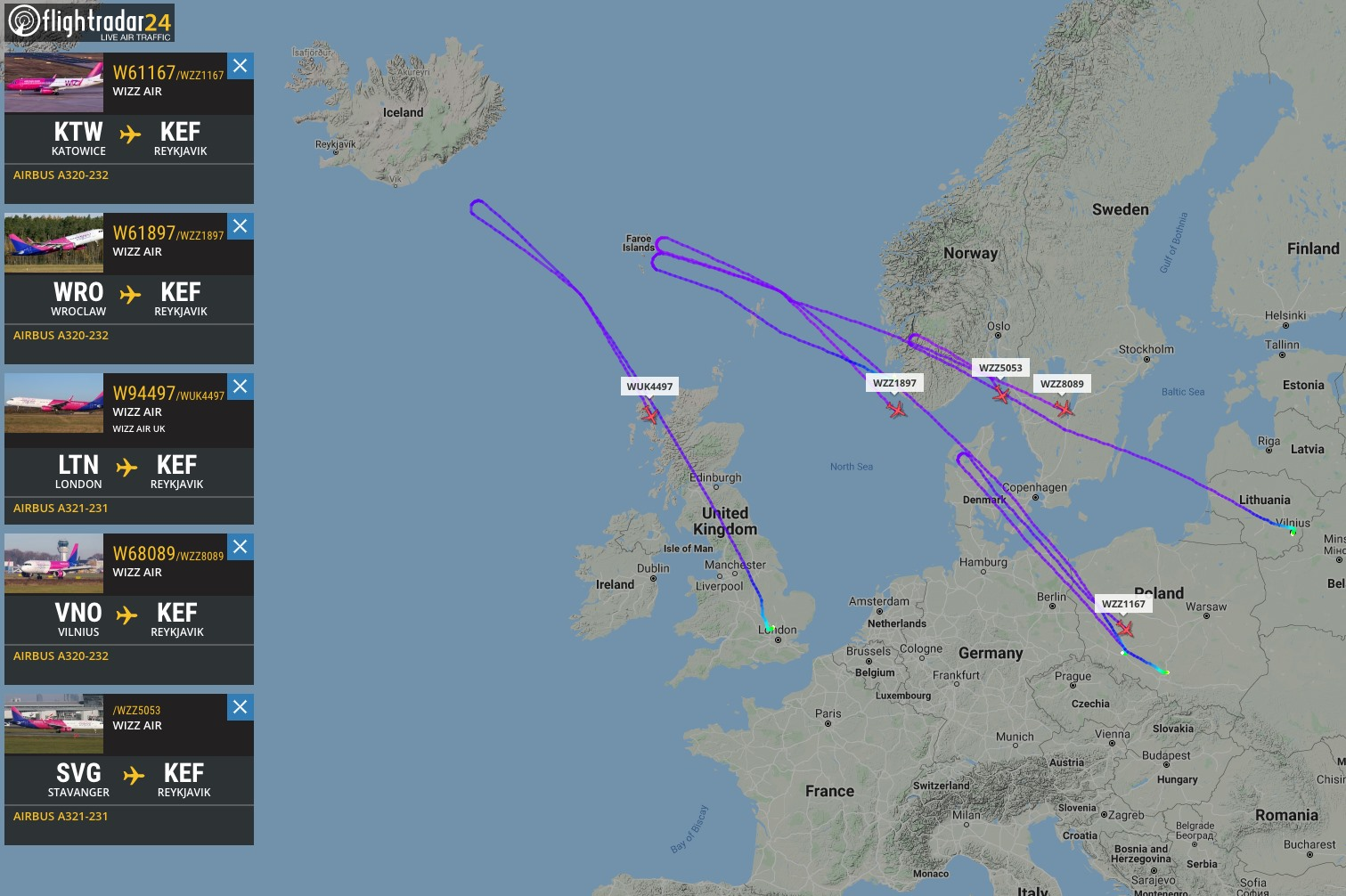 Five WizzAir flights diverted to airports of origin because of the accident in Keflavik // Source: Flightradar24