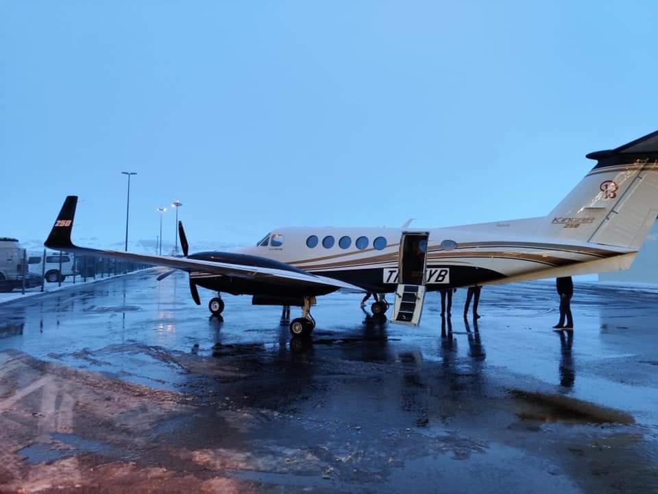 Mýflug Beechcraft B250 King Air reg. TF-MYB have arrived in Akureiry // Source: Pawel Kolosowski