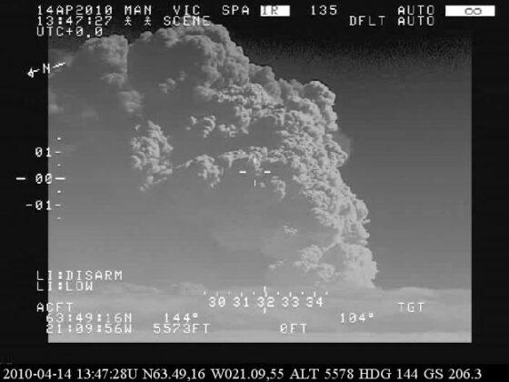 Eyjafjallajökull eruption 2010 from LHG Bombardier Dash 8 Q300MSA reg. TF-SIF // Source: Landhelgisgæsla Íslands
