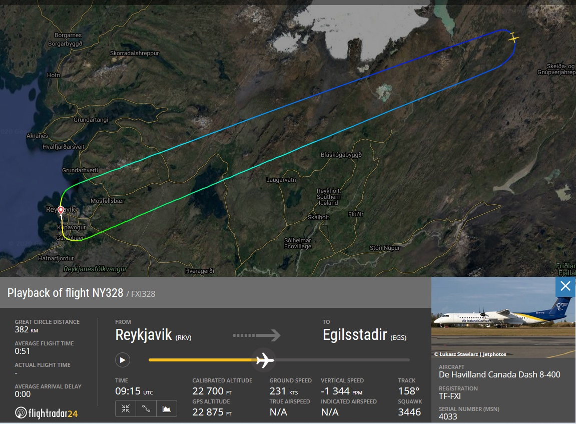 The flightpath of Air Iceland Connect Bombardier Dash 8 Q400 TF-FXI which diverted due to crack in the windshield // Source: Flightradar24.com