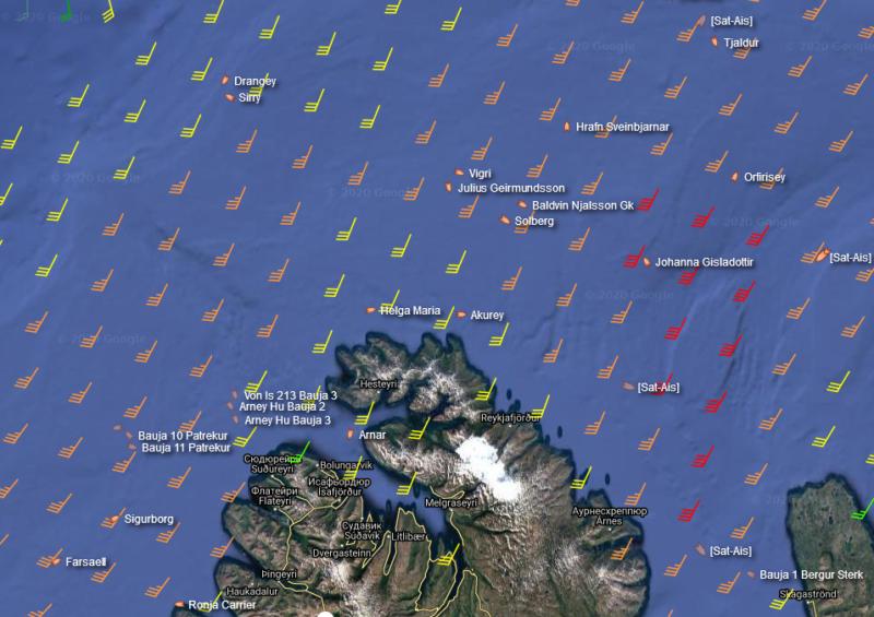 Fishing vessels near Iceland during the night storm 26.November // Source: MarineTraffic.com