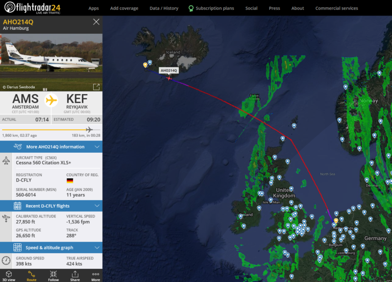The first delivery of anti-COVID19 vaccine in Iceland // Source: Flightradar24