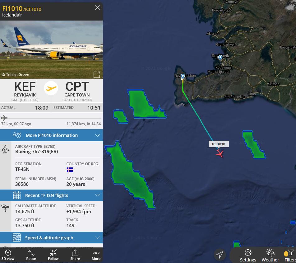 Icelandair Boeing 767 reg. TF-ISN has departed towards Antarctica on 24.February 2021 // Source: Flightradar24