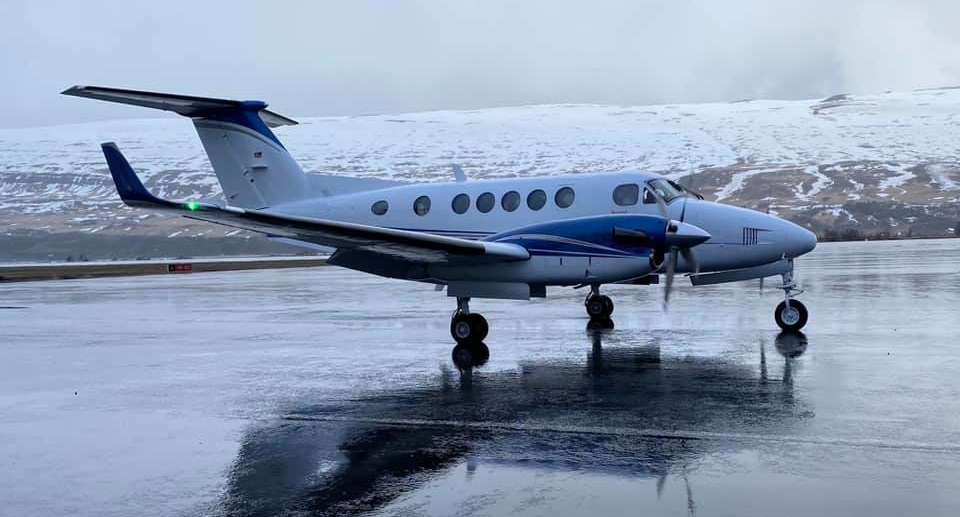 Beech B200 Super King Air reg. N200PL in Akureyri in March 2021 // Source: AK Aviation