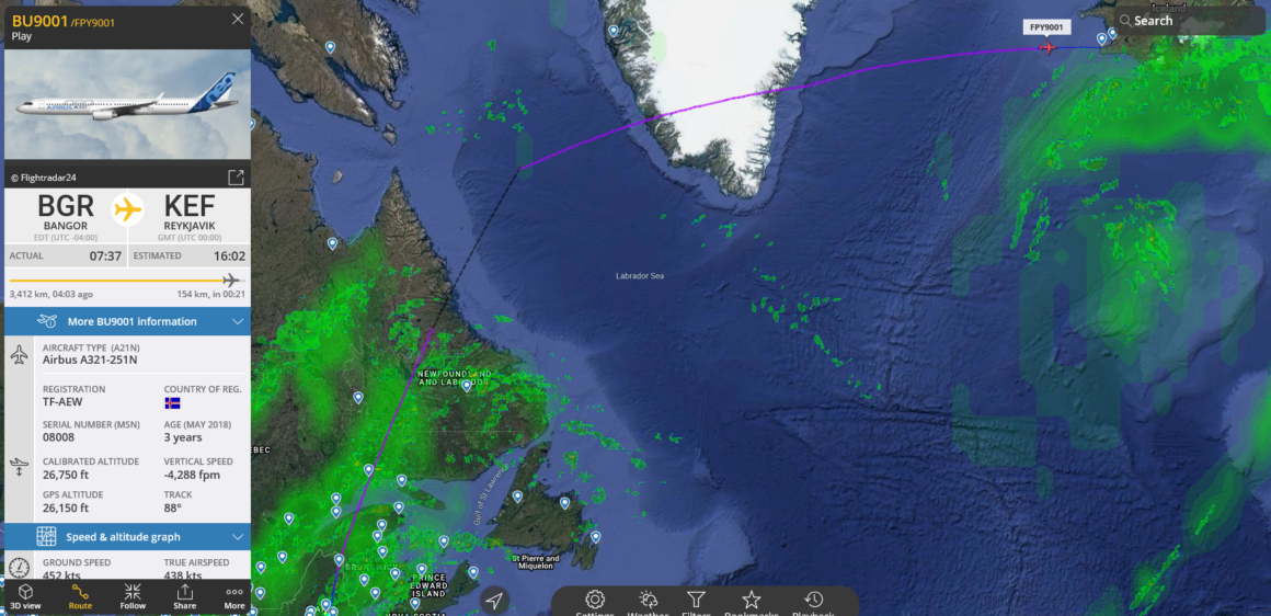 The delivery route of the first A321neo reg. TF-AEW for Play airline // Source: Flightradar24