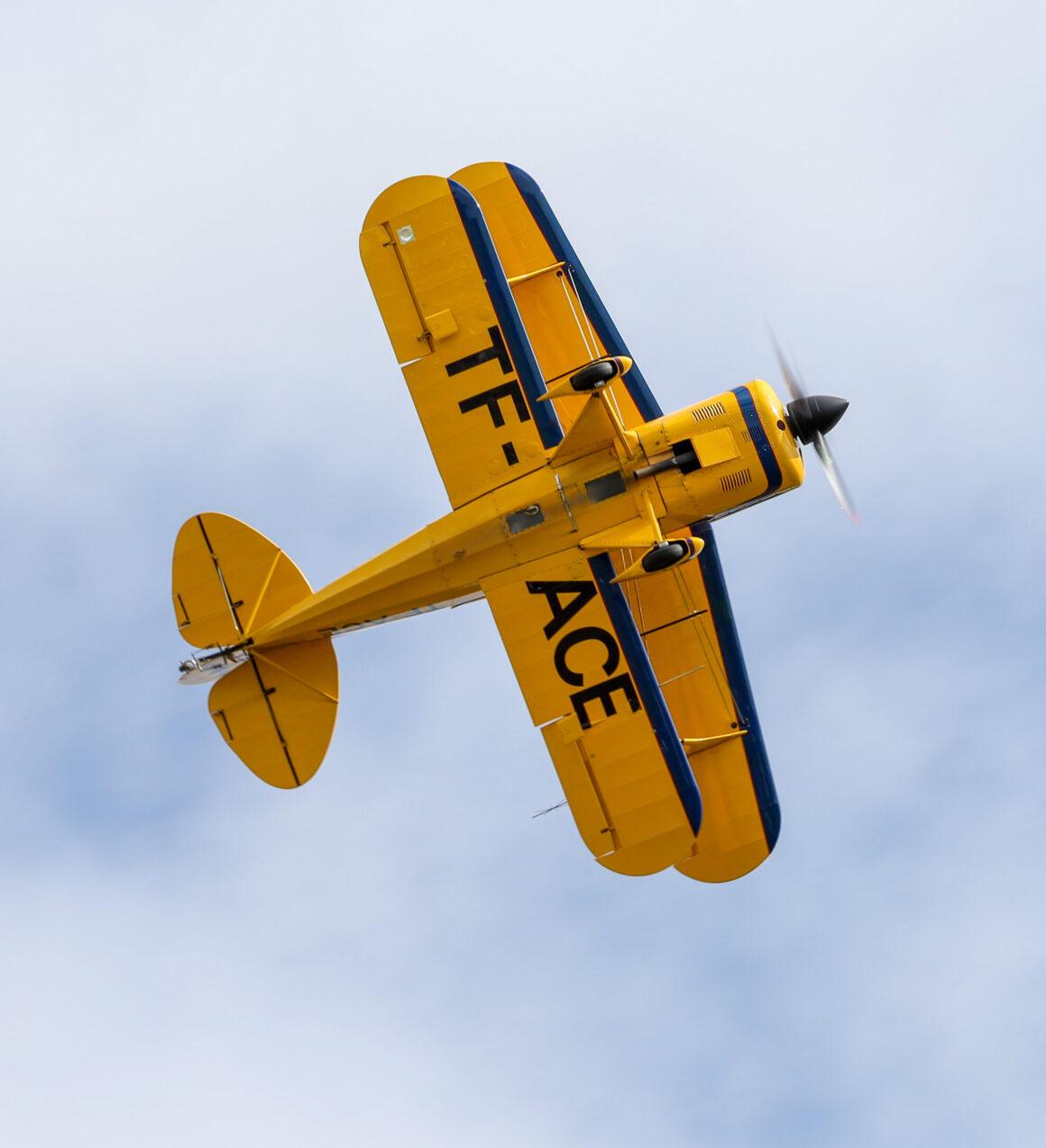 """Pitts S-2A reg. TF-ACE at airshow """"Allt sem flygur 2021"""" in Hella // Source: Jón Sverrir Sigurðarson"""