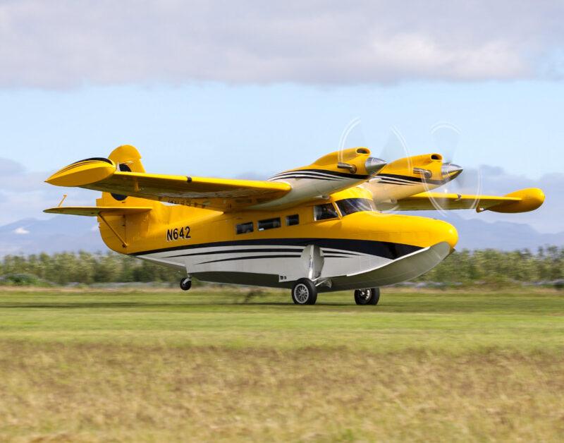"""Grumman G-21 Goose reg. N642 at airshow """"Allt sem flygur 2021"""" in Hella // Source: Jón Sverrir Sigurðarson"""