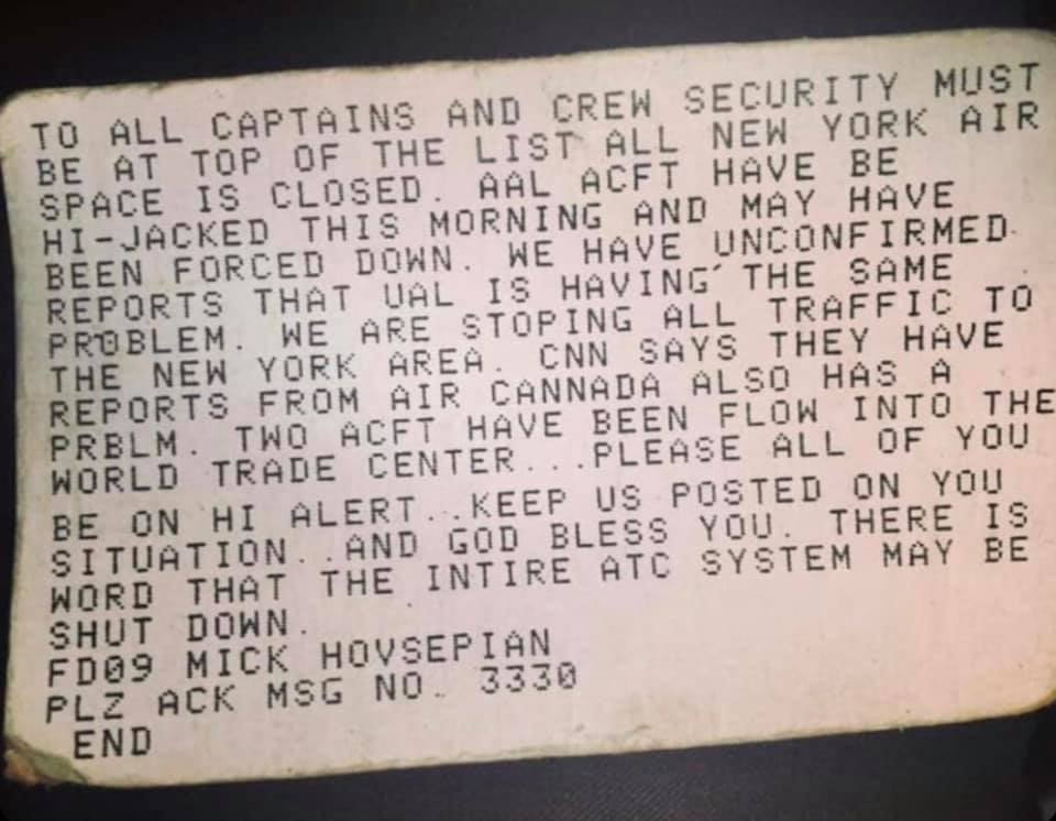 American Airlines pilots received this message using the inflight ACARS system in the cockpit