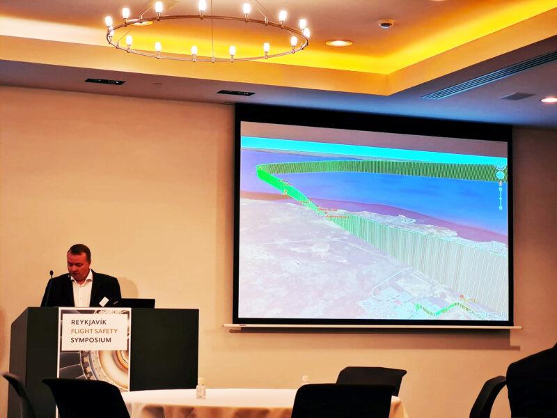 Investigator at the Icelandic Transportation Safety Board (RNSA) Ragnar Guðmundsson present report during Reykjavik Flight Safety Symposium 2021