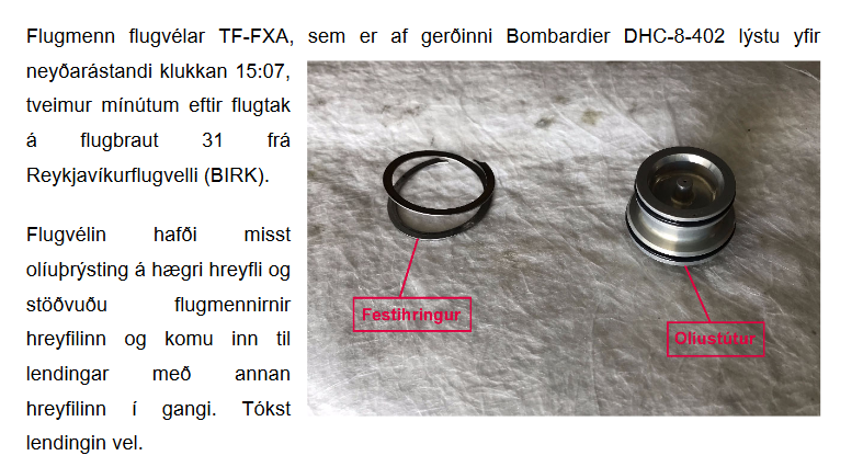 The fragment of RNSA investigation report when Air Iceland Connect Bombardier Dash 8 experienced engine shut down in flight in Reykjavik on 9.August 2018 // Source: RNSA