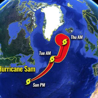Hurricane Sam is moving to Iceland // Source: severe-weather.eu